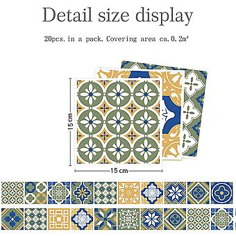 20pcs Floral Mosaic Tile Stickers Waterproof Self Adhesive Home Wall Decor Mural