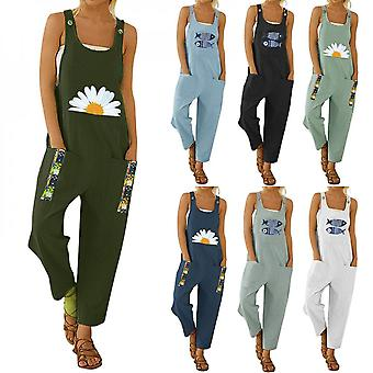 Womens' Long Jumpsuits Small Daisy Flowers Printed Patchwork Summer Front Pocket