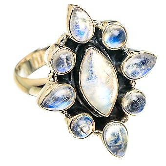 Rainbow Moonstone Ring Size 8.75 (925 Sterling Silver)  - Handmade Boho Vintage Jewelry RING77242
