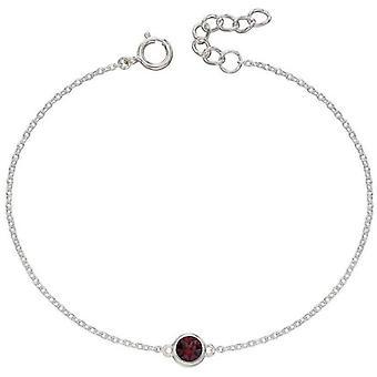 Début Janvier Bracelet Pierre de Naissance - Argent/Bourgogne