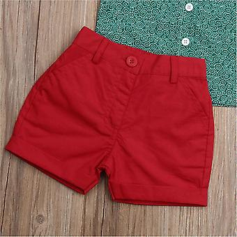 Toddler Baby Boy Flamingo Short Sleeve Button Down Shirt & Casual Shorts Set Summer Outfits 1-6 Years Clothes (Green&Red, 3-4T)
