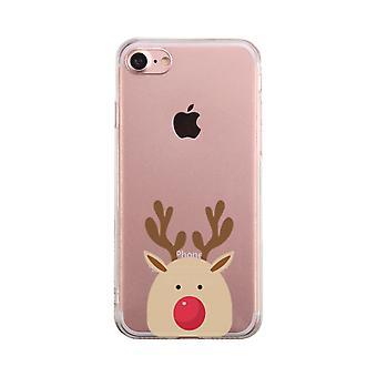 Rudolph stor ansigt gennemsigtig telefon sag søde klart Phonecase