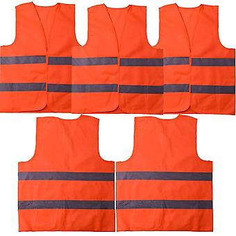 Safety Vest High Visibility Reflective, Suitable For Drivers, Workers, Gardeners, Cleaners, Orange (5 Pieces)