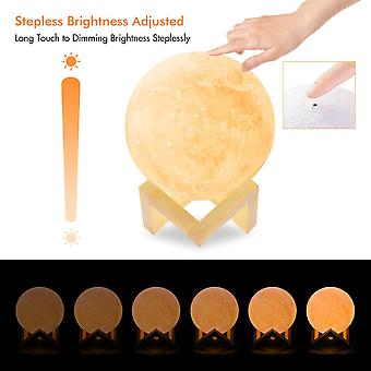 Moon Lamp-warm And White Touch Control Brightness With Wooden Mount