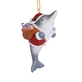 Vrolijke dolfijn Kerstman met zak van speelgoed hars Christmas Ornament Vakantiewoningen