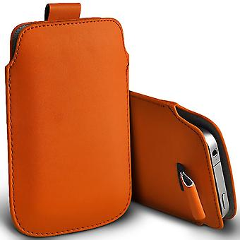 Huawei Honor 4C Slip In Pull Tab Faux Leather Pouch Case Cover (Orange)