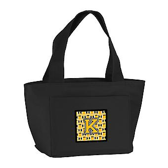 Letter K Football Black, Old Gold and White Lunch Bag