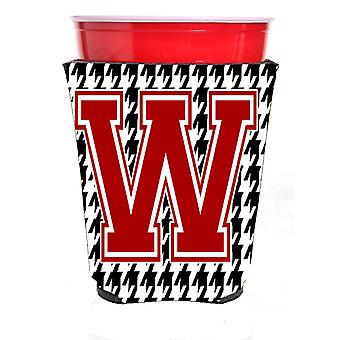 Monogram - Houndstooth  Initial  W Red Solo Cup Beverage Insulator Hugger