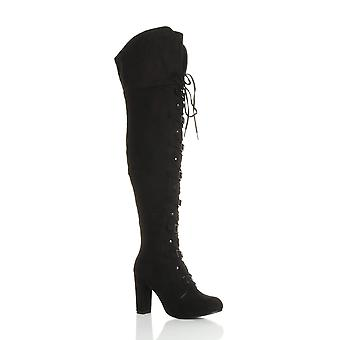 Ajvani womens high block heel lace up buckle pirate over knee thigh boots