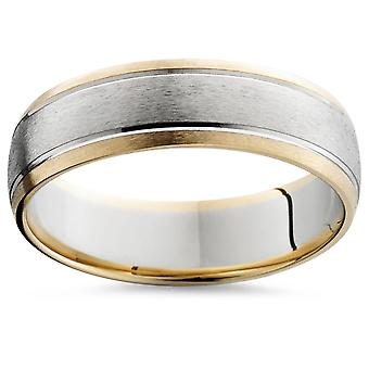 6MM Mens 14k Gold Two Tone Brushed Wedding Ring Band New