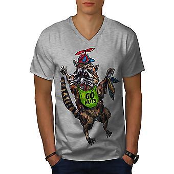 Funy Raccoon Cute Men GreyV-Neck T-shirt | Wellcoda