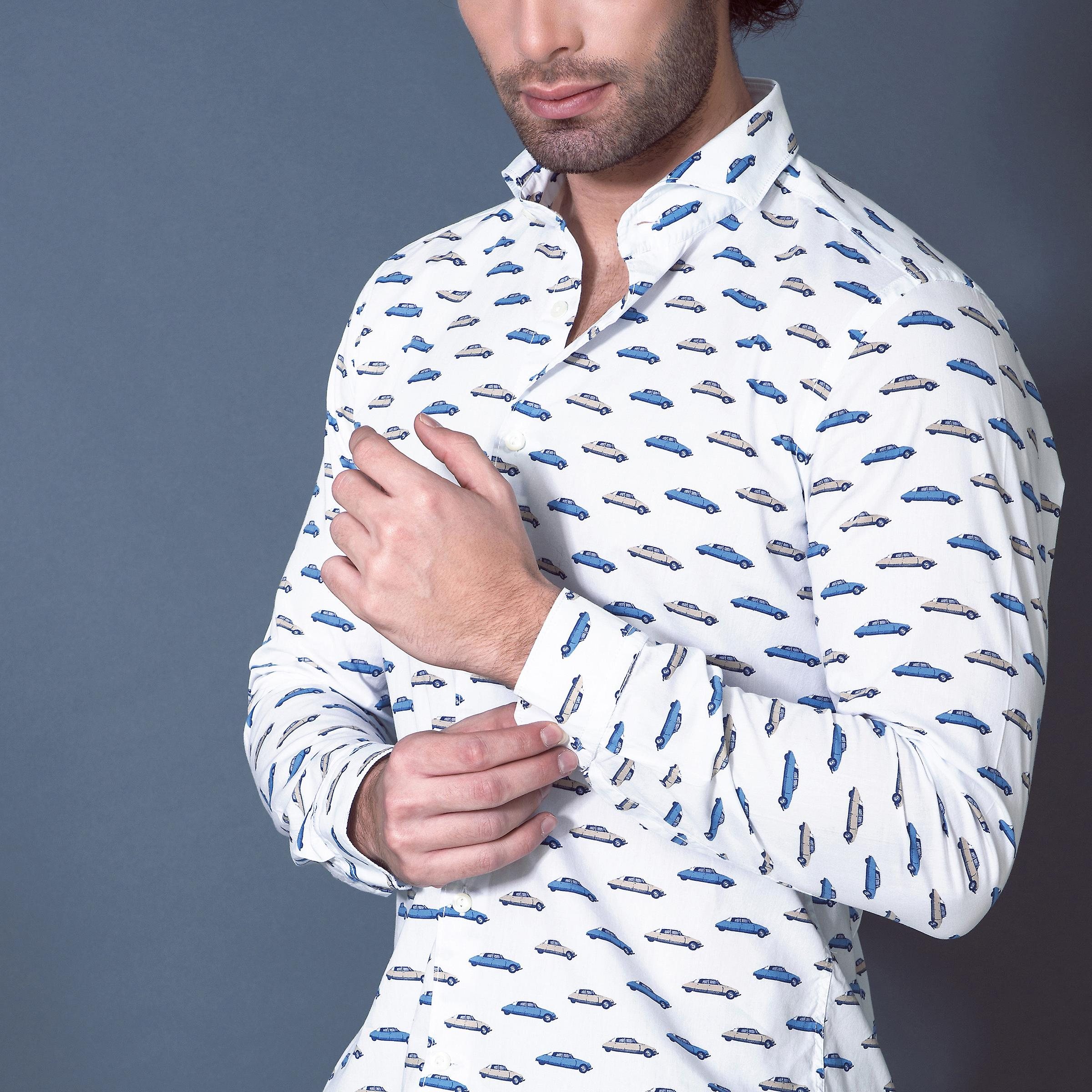 Fabio Giovanni Gallipoli Shirt - Mens italienische lässige Retro-Print-Shirt - Langarm