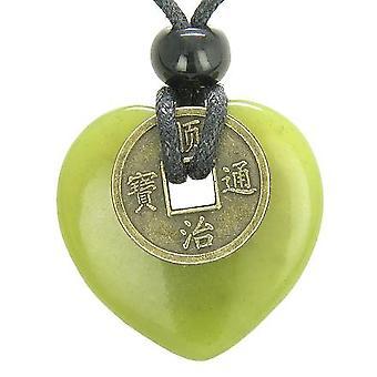 アンティーク コイン邪眼保護力お守り緑の玉 30 mm ハート ドーナツ型ペンダント ネックレス