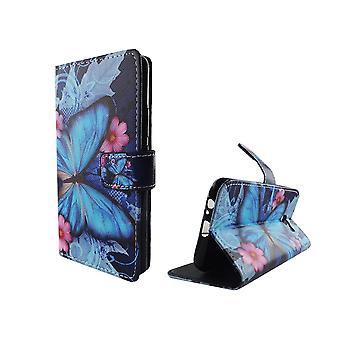 Mobiltelefon tilfælde pose til mobil Samsung Galaxy J3 blå sommerfugl