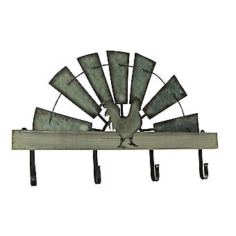 Half Metal Windmill Farmhouse Rooster Decorative Wood Wall Hook Rack
