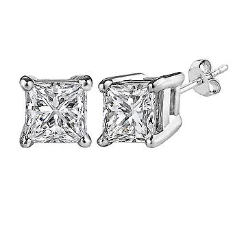 Argent sterling Rhodium finition Princess Cut Cubic Zirconia Stud Earring
