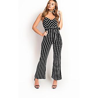 IKRUSH Womens Pia Stripe Tie Taille Wide Leg Overall