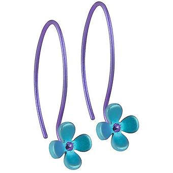 TI2 Titanium 8mm vier Blütenblatt Blumeohrringe - Kingfisher blau