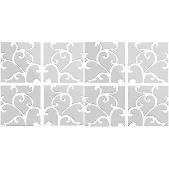 TRIXES 8PC 3D effect Swirled Pattern Ideal Home Decoration Silver