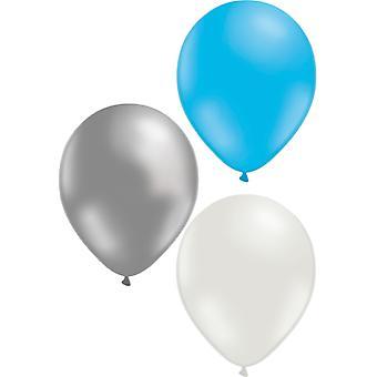 Ballons mischen 24-Pack Blau, Weiß und Silber 30 cm (12 Zoll)
