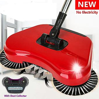 Rotating 360° Spins Sweeper Broom Automatic Hard Floor Cleaning Mop Brush 2 In 1