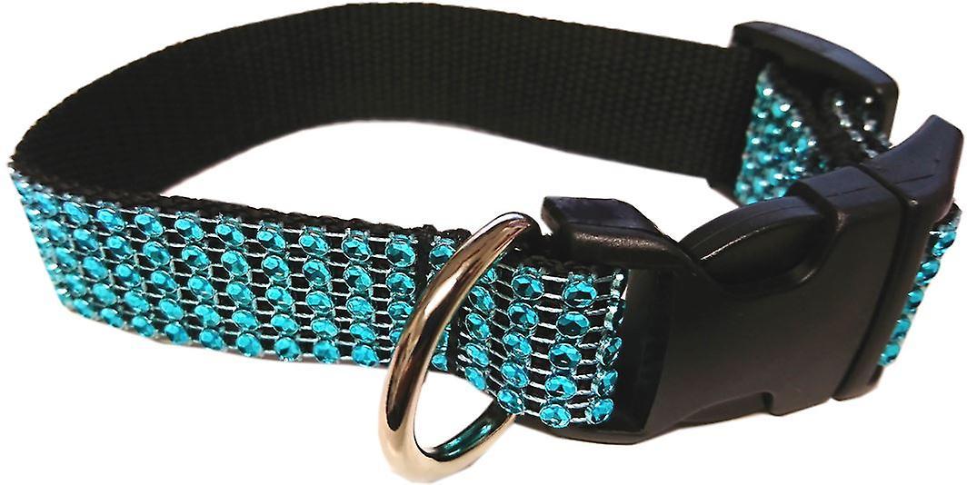 Dogcrafts Side Clip Dog Collar Teal Diamante 13