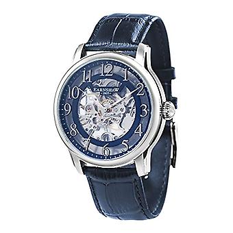Thomas Earnhshaw Longitude ES-8062-05 mechanical wrist watch blue skeleton dial and blue leather strap