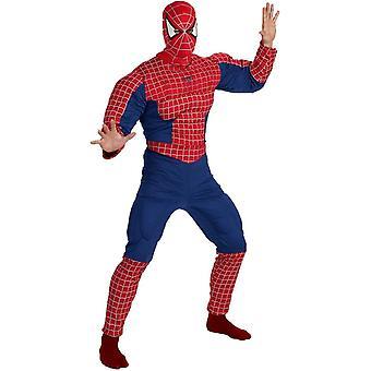 Deluxe Spiderman muskel Adult kostym