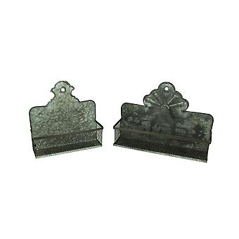 Galvanized Metal Vintage Style Wall Pockets Set of 2