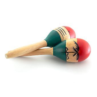 世界リズム自然な手塗りの木製マラカス - 小