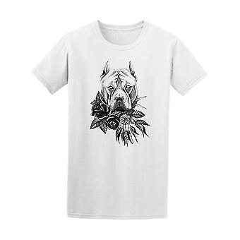 Pitbull With Roses Dreamcatcher Tee Men's -Image by Shutterstock