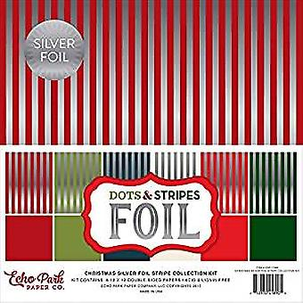 Echo Park Christmas Silver Foil Dots & Strepen 12x12 Inch Stripe Collection Kit