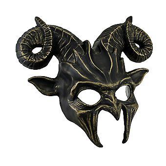 Demonic Horned Devil Metallic Finish Half Face Costume Mask
