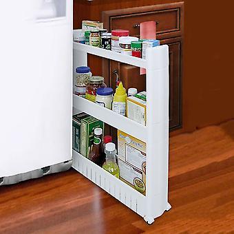 Taylor & Brown 3 Tier Slim Slide Out Kitchen Bathroom Trolley Rack Holder Storage Shelf Organiser on Wheels