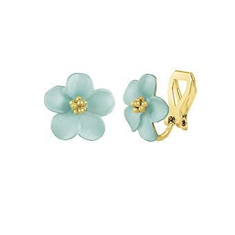 Eternal Collection Anemone Aqua Enamel Gold Tone Stud Clip On Earrings