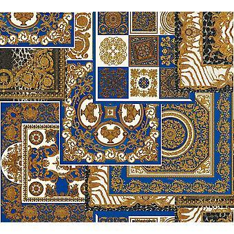 Versace Decoupage azul oro papel pintado barroco ornamento Metal Paste Pared