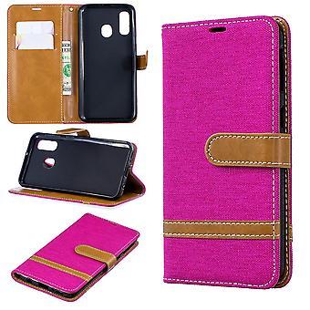 Samsung Galaxy A40 Handy-Hülle Schutz-Tasche Case Cover Kartenfach Etui Wallet Pink