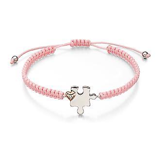 D for diamant-mor & barn Jigsaw rosa macrame armbånd