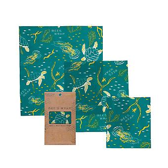 Set of 3 Assorted Beeswax Wraps, Oceans