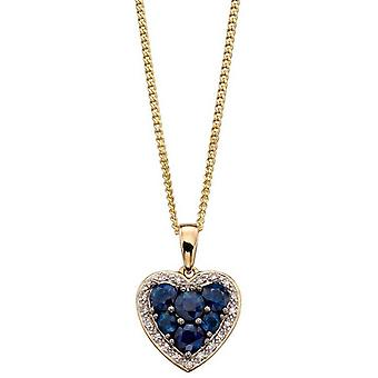 Elements Gold Sapphire and Diamond Heart Pendant - Blue/Gold/Silver