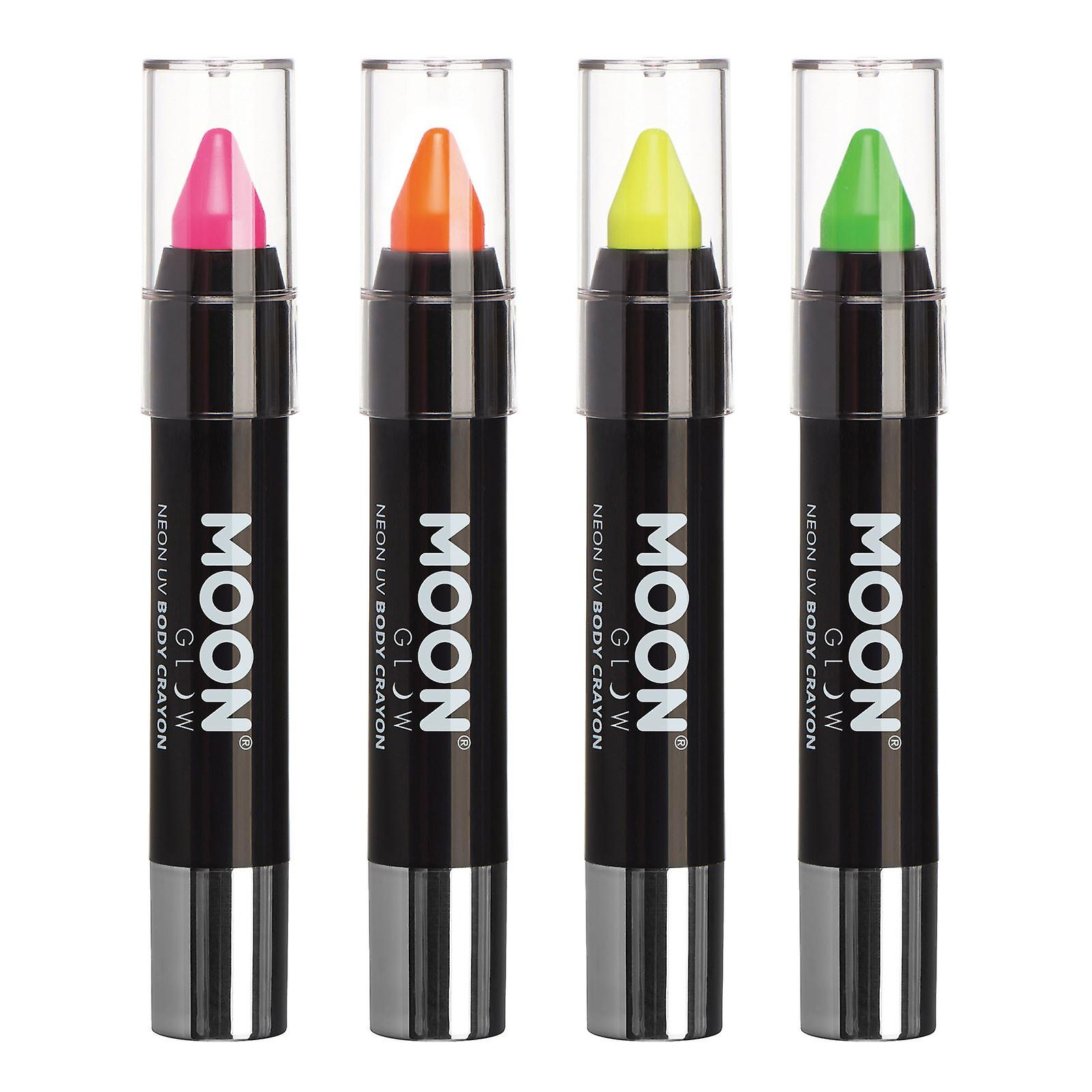 Moon Glow - Neon UV Face Paint Stick / Body Crayon makeup for the Face & Body - Pastel set of 4 colours - Glows brightly under UV lighting - Pink, Yellow, Orange, Green