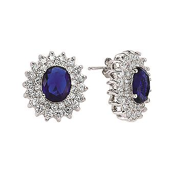 Jewelco London Rhodium Plated Silver Blue White Oval and Round Cubic Zirconia Royal Lady Di Cluster Stud Earrings