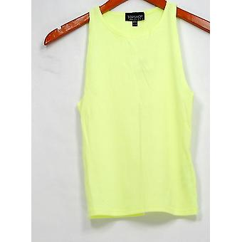 Top Shop Top Sleeveless Ribbed Rounded Neckline Yellow