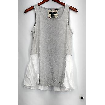 Kate Mallory Top Knit Tissé Scoop Neck Contrast Panel Hi Low Hem Gray A432210