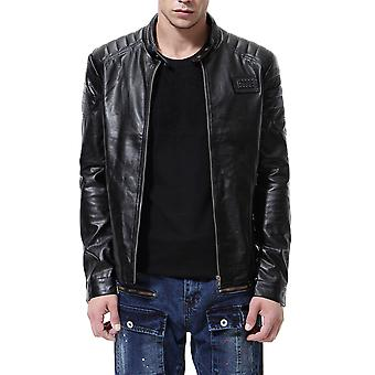 Allthemen Men's Leather Coat Slim Fit Stand Collar Zipper Leather Jacket