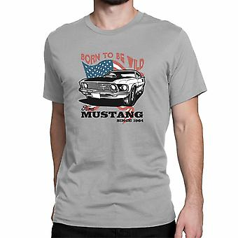 "T-shirt do Mustang de Ford. Produto oficialmente licenciado da Ford. ""Born to Be Wild Ford Mustang desde 1964"". Arte 064."