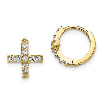 14k Yellow Gold Polished Cubic Zirconia Cross for boys or girls Hinged Hoop Earrings