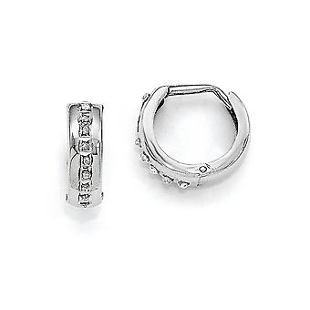 14k White Gold Hinged Polished Diamond Fascination Round Hoop Earrings Jewelry Gifts for Women