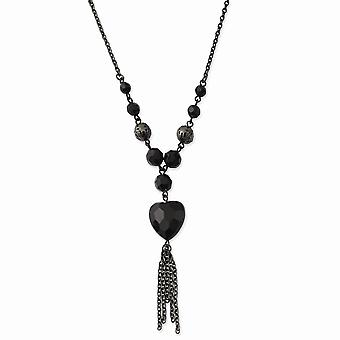 Black Plating Fancy Lobster Closure Black Plated Black Acrylic Beads 16inch with Ext Necklace Jewely Gifts for Women