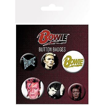 David Bowie sett med 6 pin emblemer (GE)
